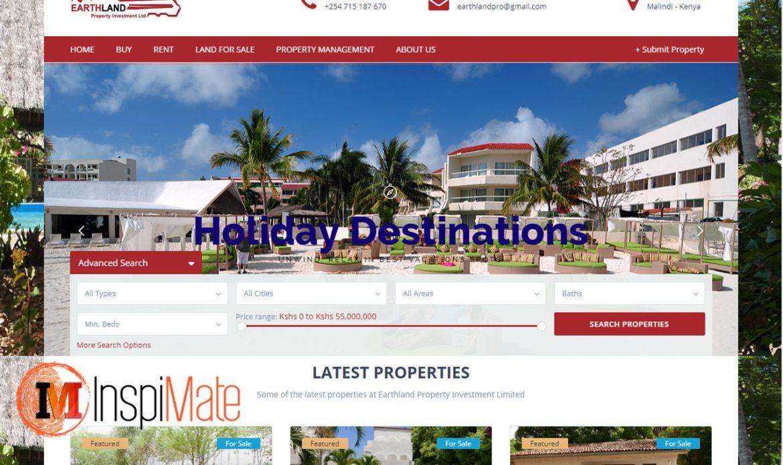 Earthland Properties website designed by Inspimate Enterprises