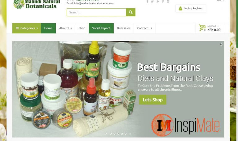 Malindi Botanicals website design by Inspimate Enterprises