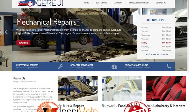 Gereji Car, Vehicle Repair, Maintenance Website For Sale by Inspimate Kenya