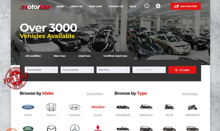 MotorKar, E-Motor Shop, Car Dealer website for sale by Inspimate Enterprises