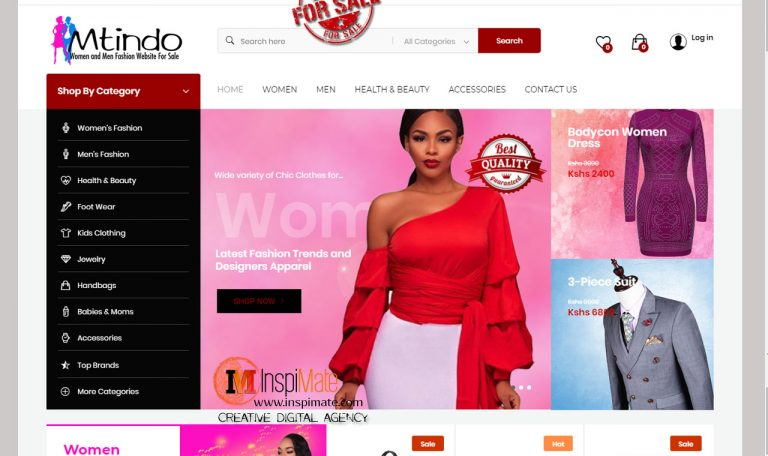 Mtindo, Women, Men Fashion, Trends Online Shop Website for sale by Inspimate