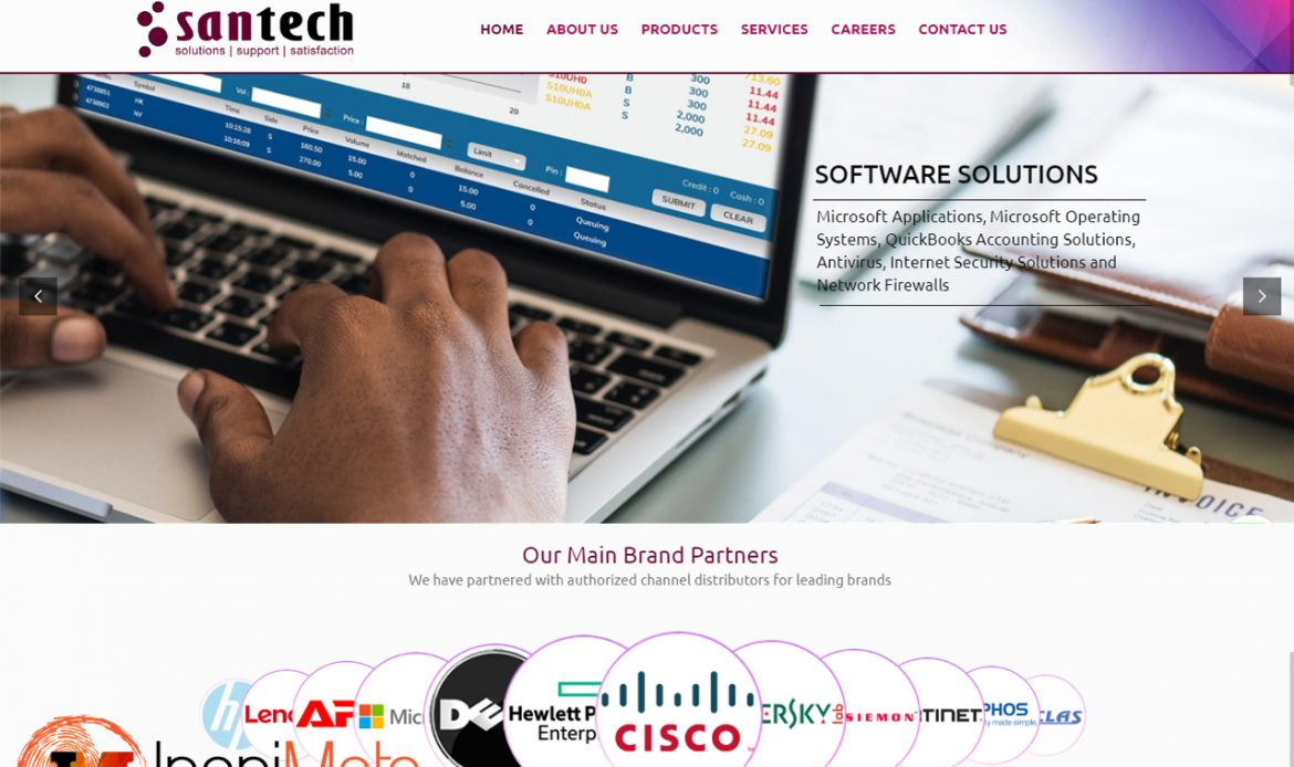 Santech Limited an ICT Company website design by Inspimate