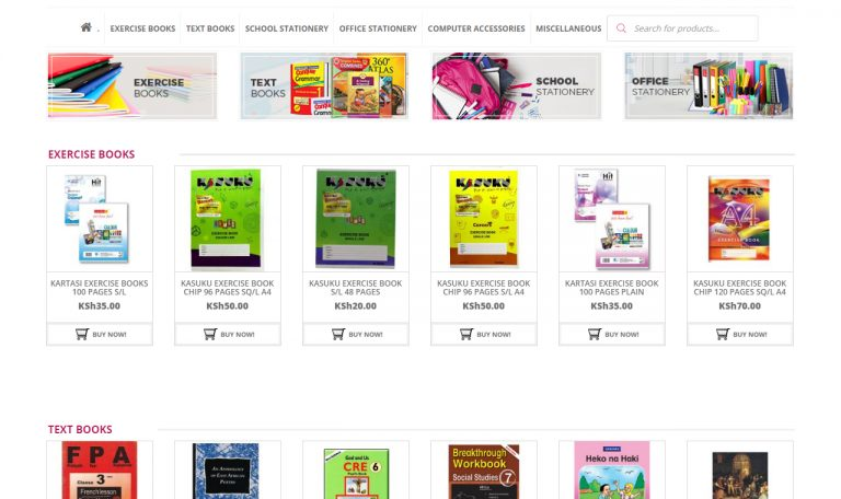 Watex Limited Bookshop, Office, School Stationery website by Inspimate Enterprises