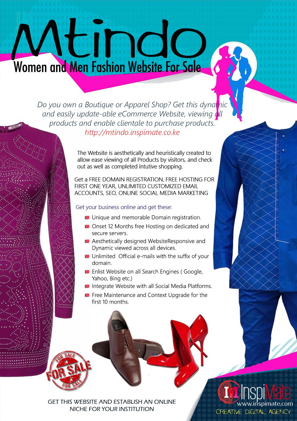 Mtindo, Women, Men Fashion, Trends Online Shop Website for sale by Inspimate