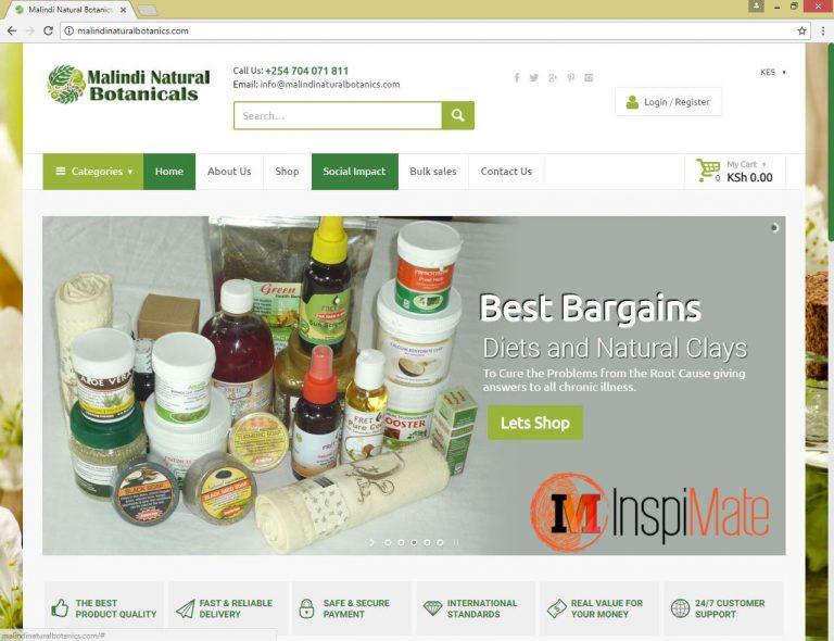 Malindi Botanicals website design by Inspimate Enterprises