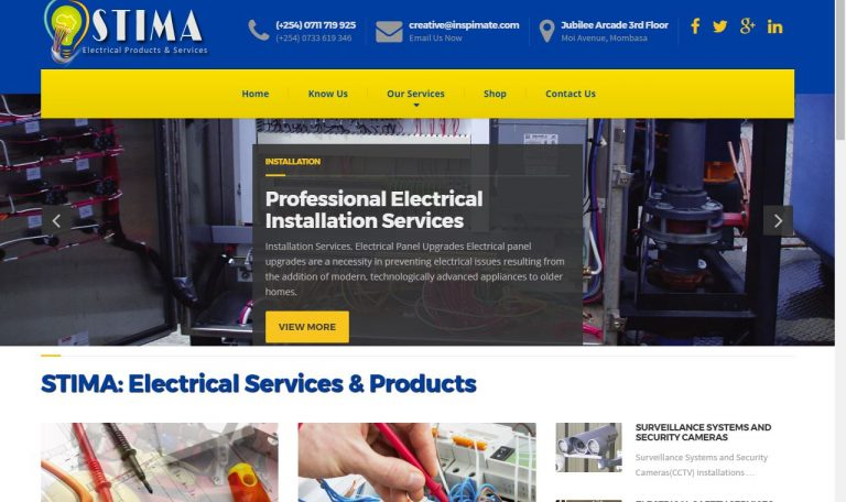 Stima - Electrical Technicians Firm Ecommerce and website For Sale, by Inspimate