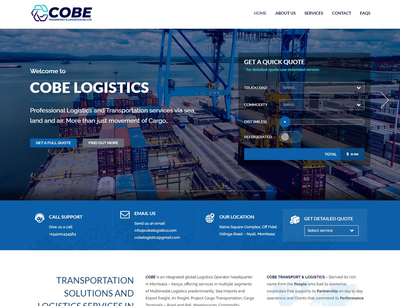 COBE Logistics Website Design by Inspimate Enterprises