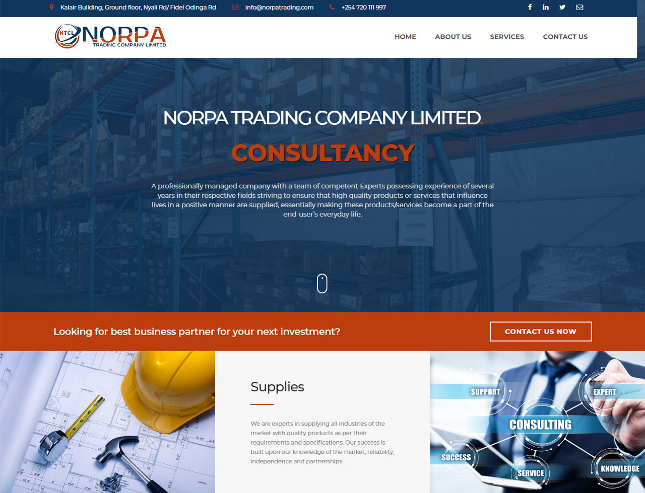 NORPA Trading Limited website design by Inspimate Enterprises